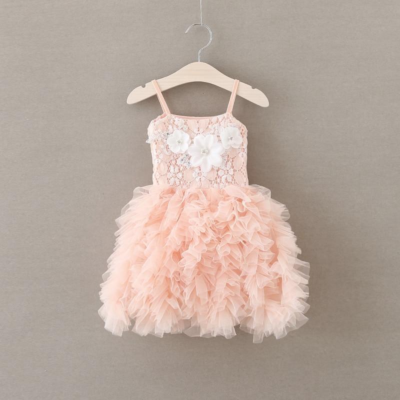 2016 Summer Kids Folds Cake Tutu Princess Dress Fashion Suspenders Flower Girl Dresses Birthday Party Baby Girls Frock Designs