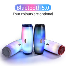 LED Bluetooth Speaker Portable Outdoor Loudspeaker Wireless Mini Column 3D 5W Stereo Music Surround Support FM TF Card Bass Box(China)