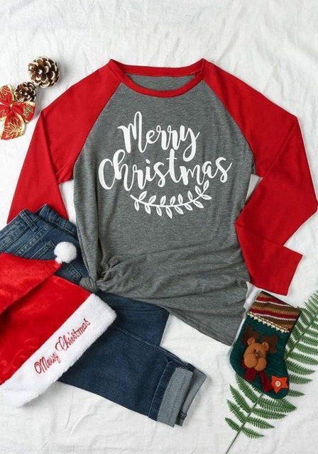 merry christmas tshirt plus size unif top women winter t-shirts tee womens fashion graphic tees women pink long sleeve shirt