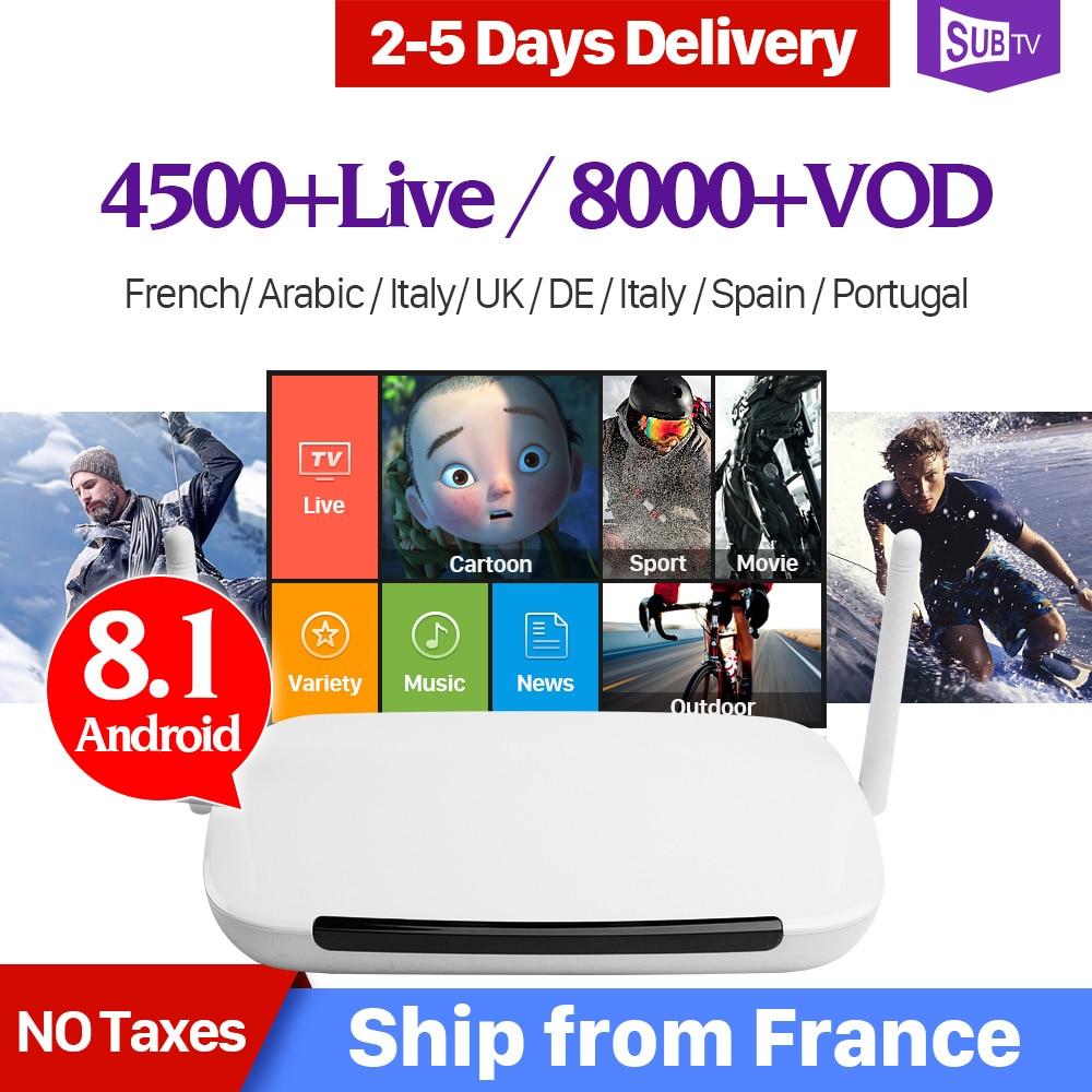 SUBTV 4 K IPTV Árabe França Itália Android 8.1 Leadcool Q9 1 + 8G RK3229 H.265 Decodificador de TV IP assinatura Francês Portugal Turquia