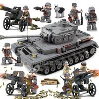 1193PCS Military World War 2 PZKPFW IV 923 Battle Tank Model Soldier Building Blocks Sets Compatible Legoingly Army ww2 Vehicle