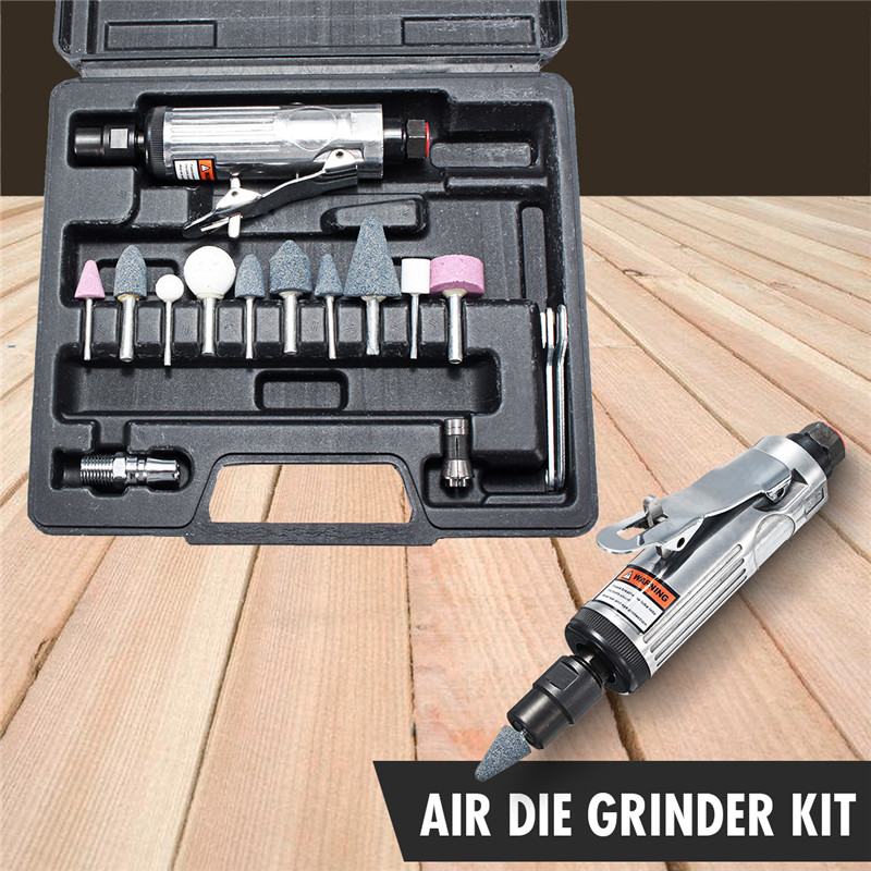 16pcs/set 1/4 Inch Car Air Compressor 90psi Grinder Machine Tirel Rotary Stone Tool Kit High-speed Polishing Pneumatic Tools Pneumatic Tools