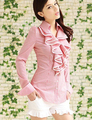 Free Shipping High Quality  Pink Doll Fashion Lotus Leaf Stripe Long Sleeve Woman Chiffon Blouse