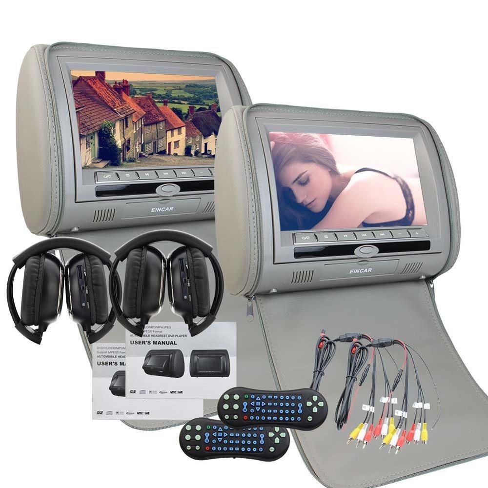 Eincar 9inch 2PCS Car DVD Player Pillow Headrest Multimedia LCD Wide Screen Auto Monitor Support 32 Bit Games IR FM+IR Headphone