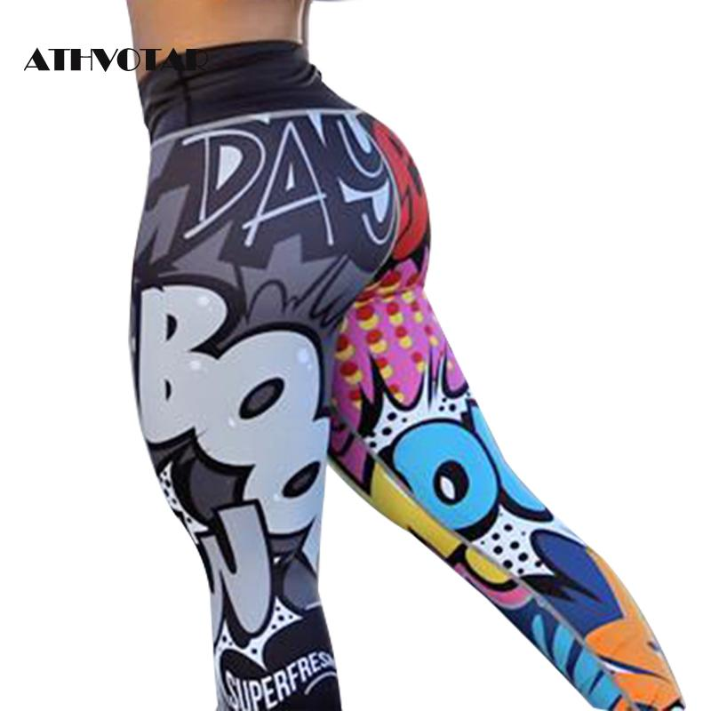 ATHVOTAR Push Up Fitness Workout Leggings Women Women Digital Printing Leggings Workout Sexy Black Ladies Pants(China)
