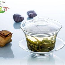 1х Высококачественная чайная супница из жаропрочного прозрачного стекла Gongfu 165 мл, чайный горшок, чашка для воды, маленький чайный горшок с блюдцем и крышкой(Gaiwan