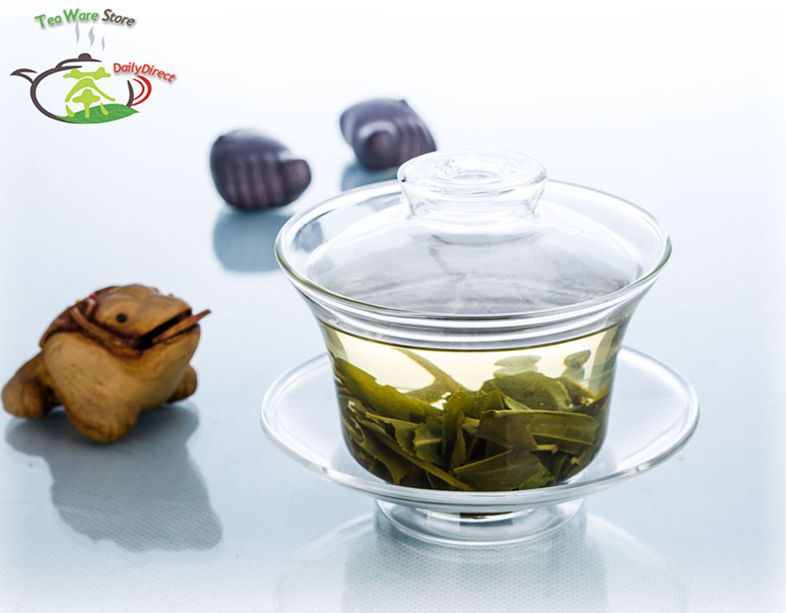 1x High-quanlity Tea Tureen Heat-Resisting Clear Glass Gongfu 165ml Teapot Water Cup Small Tea Pot With Saucer & Lid ( Gaiwan )