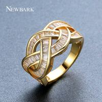 NEWBARK New Interweaving Rings For Women LOVE KNOT Channel Setting Circled For Daily Life And Friends