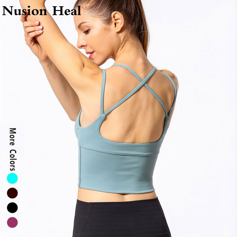 Strap Yoga Tops Workout Tops For Women Fitness Yoga Shirts Strappy Gym Crop Top Padded Sports Bra 4 Colors Spandex Women Shirts