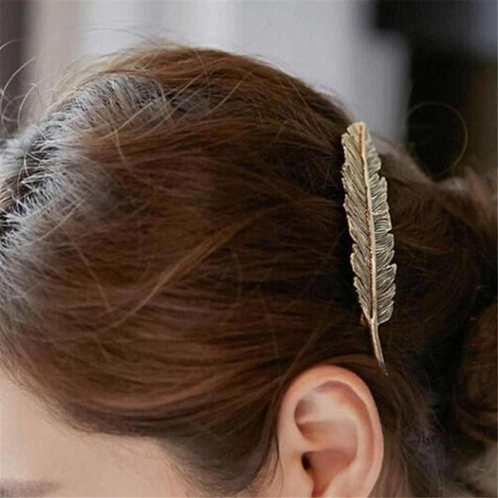 Kobiety kreatywny metalowy liść spinka do włosów dziewczyny w stylu Vintage złoty spinka do włosów włosy księżniczki akcesoria Barrettes accesorios spinki do włosów 9*2.5cm