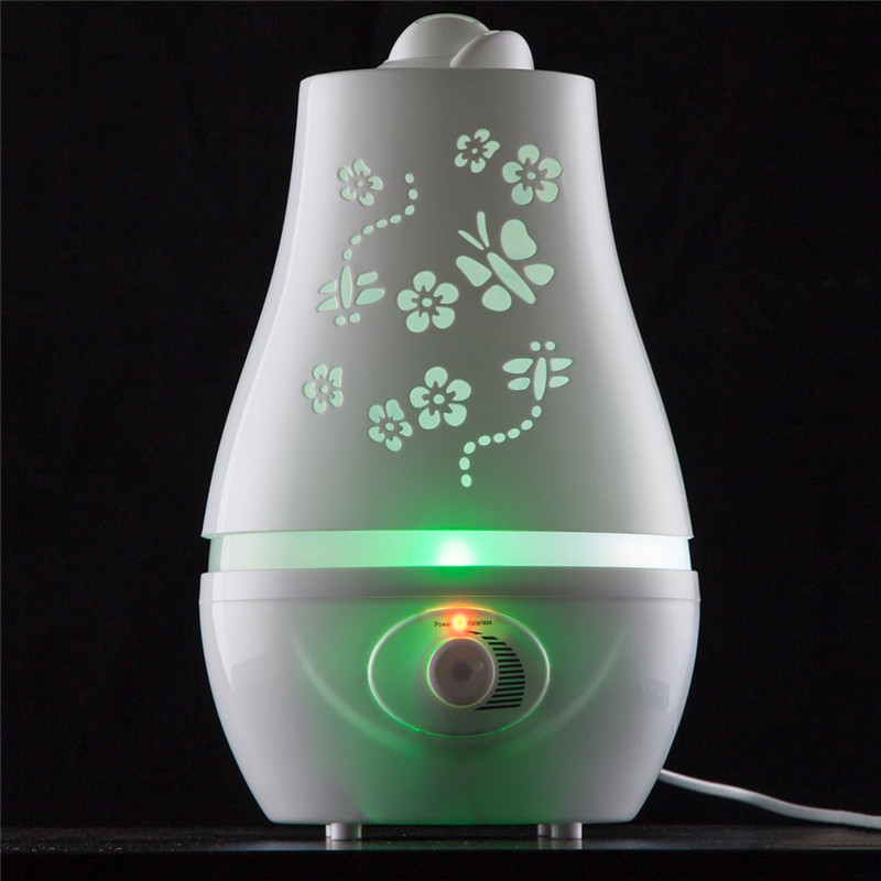 Ultrasonic Air Humidifier With Butterfly Carve Electric Aroma Essential Oil Diffuser With LED Night Light