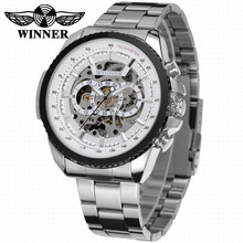 2018 Winnaar Fashion Design Zwart Mechanisch Horloge Staal Automatische Horloge Mannen Zwart Roestvrij Stalen Band Zaken Relogio Mannelijke 428