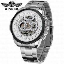 2018 vencedor design de moda preto relógio mecânico aço relógio automático masculino preto banda de aço inoxidável negócios relogio masculino 428