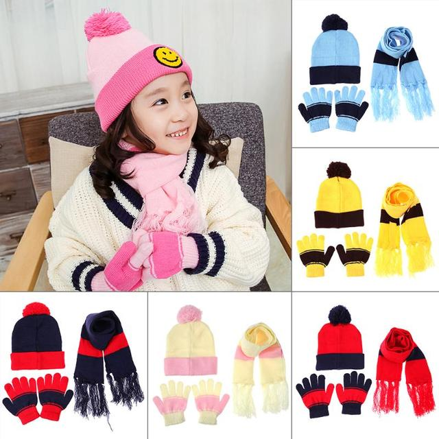 a44f9b7db1a58 3pcs Children Hat Scarf Gloves Set Warm Autumn Winter Baby Knitted Hat  Fashion Infant Kids Boy Girl Caps Beanie Cute Ball Cap