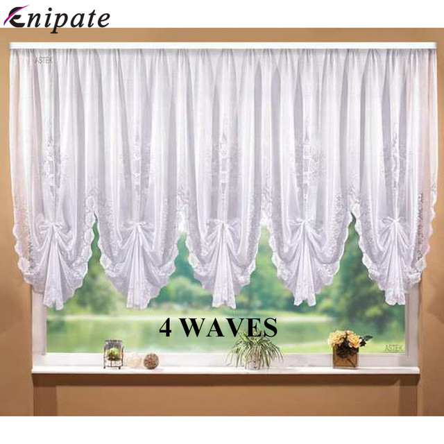 Enipate White Lace Blinds Pleated Design Stitching Curtains for