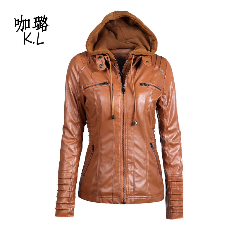 Oversized 2017 Winter Autumn Women Faux Leather Jacket Coat Hooded Fake Two Pieces Hat Detachable PU
