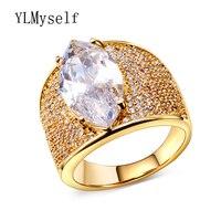 Anillo de diseño de lujo de las mujeres Geométrica grande forma larga Verde y cristales transparentes de color Oro anillos de Moda mujer joyería