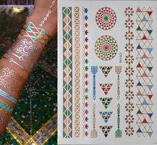 2015 New female tatuagem temporaria golden flash Tattoo Art Sex Product Flash Taty Metalic Silver Gold Tattoos Body Art