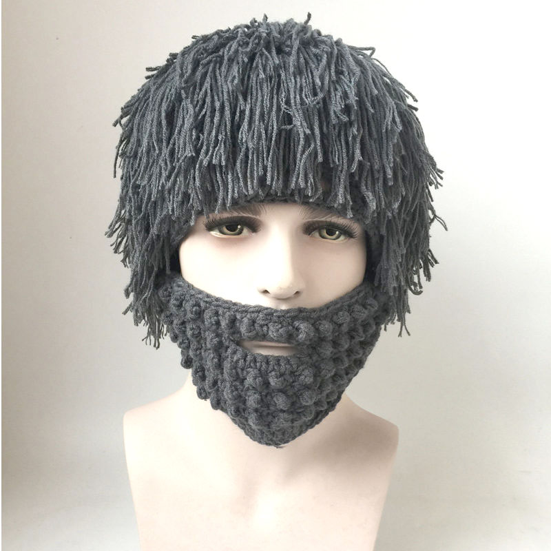 Parenting Wig Beard Hats Hobo Mad Scientist Caveman Handmade Knit Warm Winter Caps Men child Halloween Gifts Funny Party Beanies