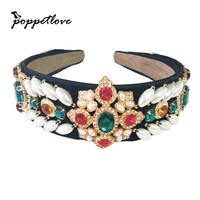 Luxury European Designs Colorful Crystal Queen Princess Tiaras Handmade Crown Pearl Diadem For Bride Wedding Hair