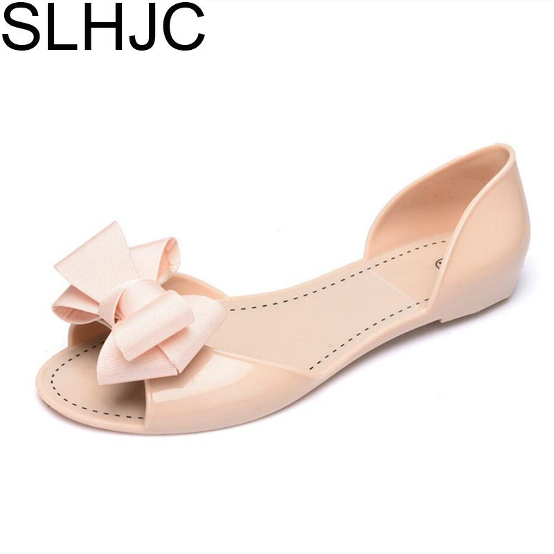 f37f94fba SLHJC 2017 Autumn Flats Crystal Jelly Summer Shoes Female Sweet Bow Open  Toe Flat Heel Casual Beach Women Flat Sandals