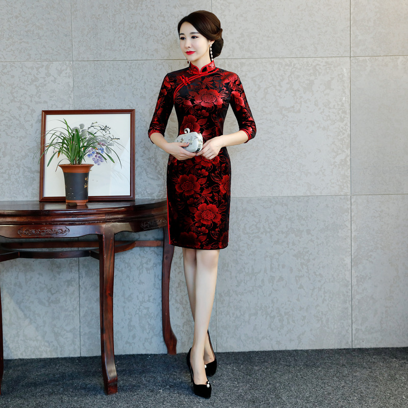 Print Floral Chinese Traditional Qipao Plus Size 3XL 4XL Ladies Autumn Velvet Cheongsam Elegant Prom Party Dress Sexy Vestidos