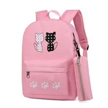 Women Canvas Backpack Bagpack 3 Pcs/set Children School Bag For Teenagers Girl Boys Students Book Bags Female Back Pack
