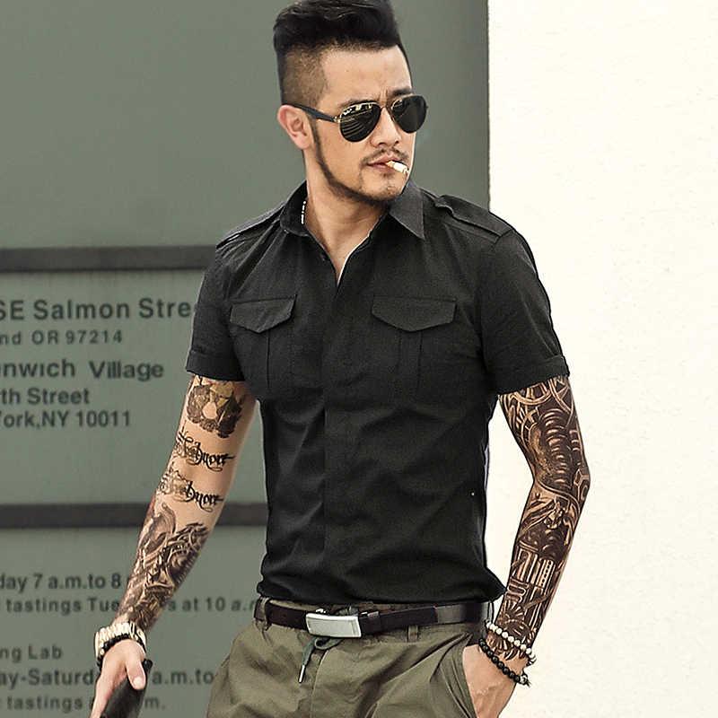 夏綿アーミーグリーン軍服男性のバッジ半袖シャツメンズスリムフィット半袖ドレスシャツブランド S2295