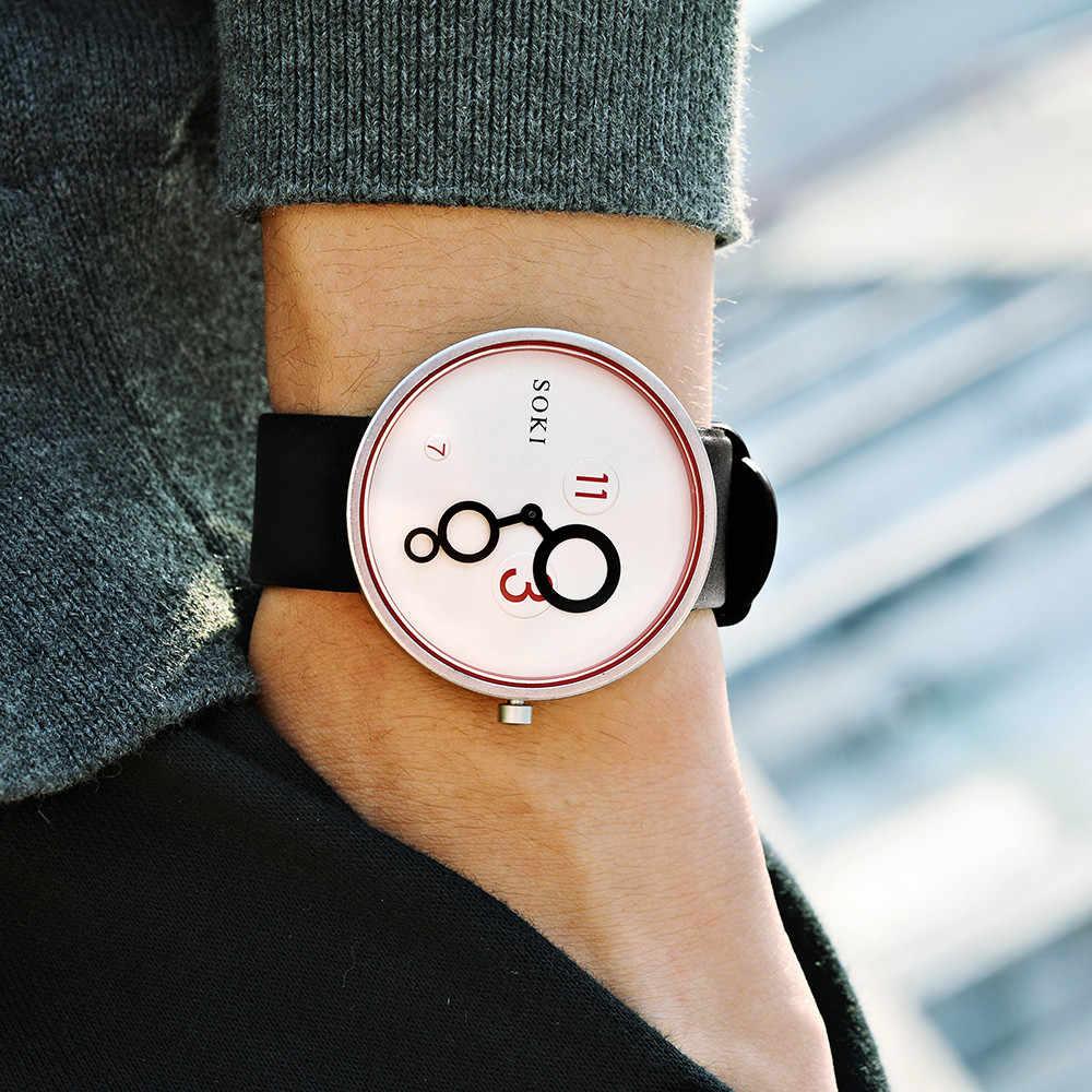 2019 chaud Couple mode cuir montre analogique Quartz rond 3 7 11 montres Design créatif Drop Shopping Reloj de hombre Wd3sea
