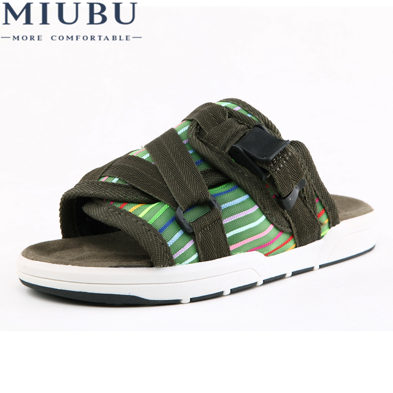MIUBU Summer Hot Sale Brand Visvim Sandals Fashion Men Unisex Lovers Casual Slippers Beach Outdoor Sandals Slipper new unisex new fashion men shoes summer slippers beach men slippers women casual slippers lovers three stripe outdoor slipper