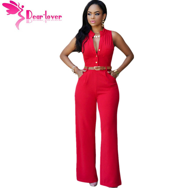 3774d10074c DearLover Fashion Big Women Sleeveless Maxi Overalls Belted Wide Leg  Jumpsuit 7 Colors S-2XL