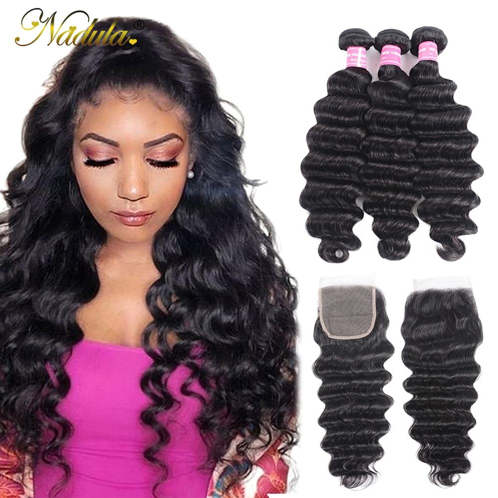 Nadula Hair Loose Deep Bundles With Closure Brazilian Human Hair Weave Bundles With Closure Remy Hair