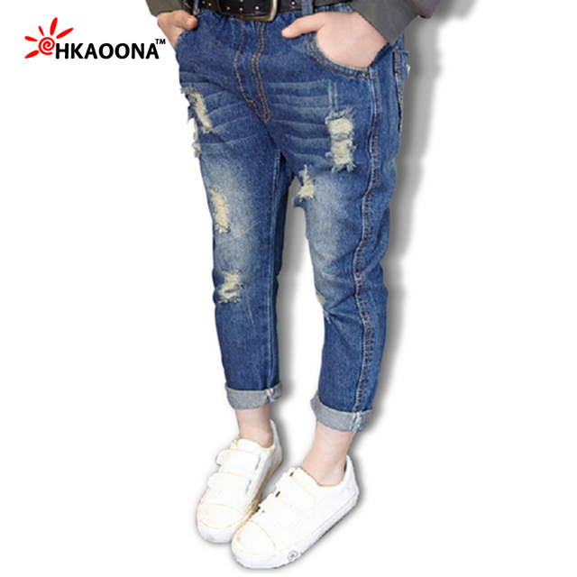 Autumn New Kids Jeans Holes Denim Pants For Baby Boys Girls Casual Ripped Jeans Pants Tollder Trousers Kids Clothes Pants