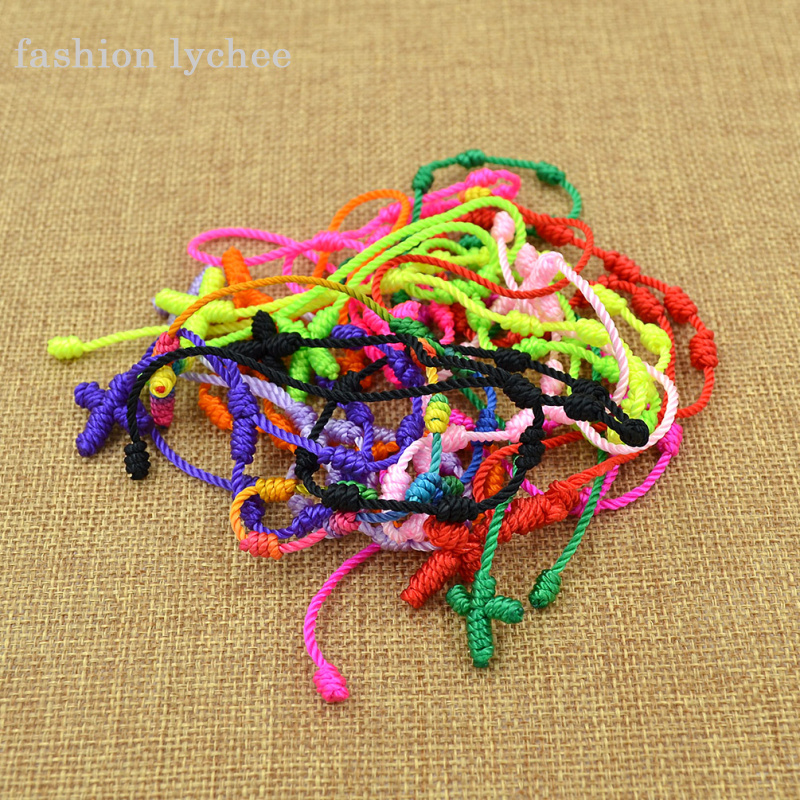 fashion lychee 10 Pcs Multi Color Religious Cross Knotted Chinese Style Unisex Bracelet Braided Lucky String Handmade Bracelet