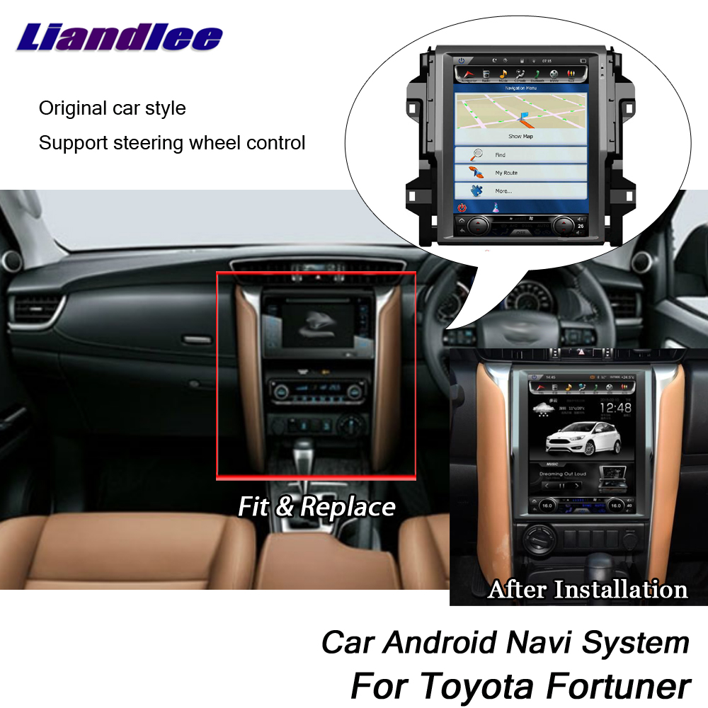 Liandlee Car Android For Toyota Fortuner 2015~2018 Original Tesla Style Radio Carplay GPS BT Wifi Navi MAP Navigation Multimedia
