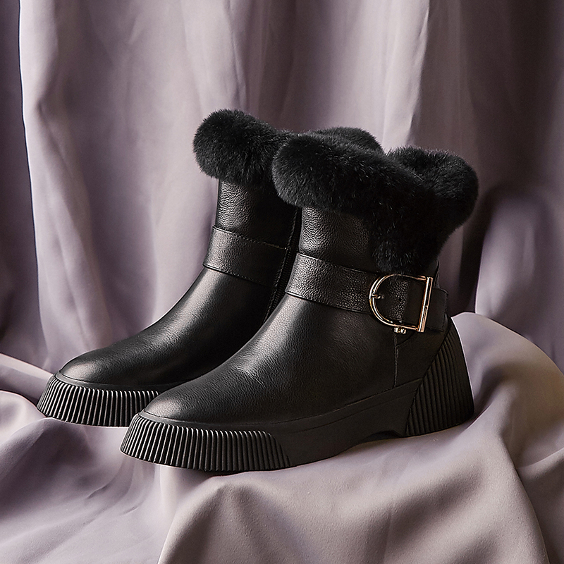 black En Métal Confortables Bottes Chaussures Beige Femmes Court Chaussons Qualité D'hiver Supérieure Cuir Appartements Plate Boucle Véritable Neige De forme u1c3FJTlK