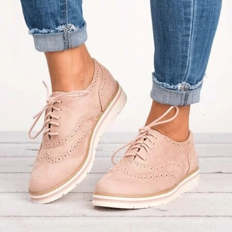 Tangnest Lace-up Casual Brogue Shoes Woman Casual Oxfords British Style Creepers Comfort Flats Shoes Suede Sneakers XWD6990