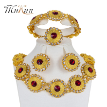 MUKUN 2018 Fashion African Jewelry Sets Bridal Gift Costume big Nigerian Wedding Jewelry set Dubai gold color Jewelry set design mukun nigerian wedding woman accessories jewelry set fashion african bead jewelry set brand dubai big gold color jewelry sets