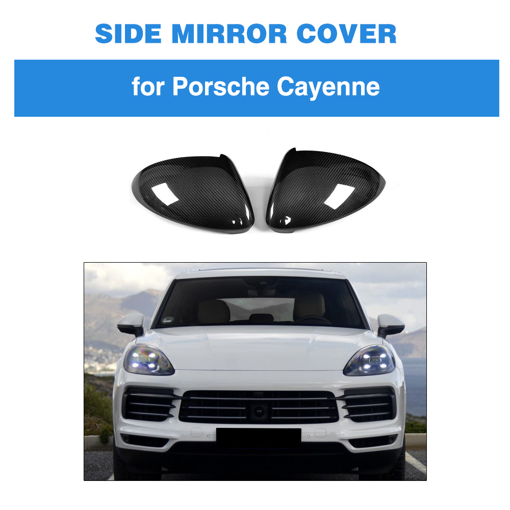 Carbon Fiber Car Rear Side Mirror Covers Trim Fender for Porsche Cayenne 2018 Add on Style