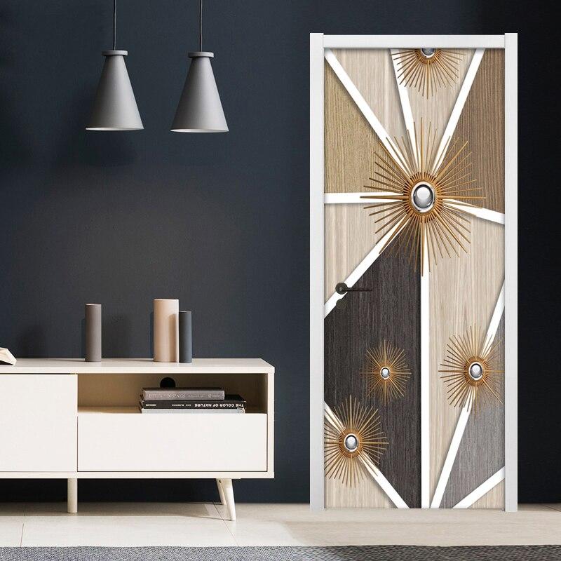 3D Abstract Modern Geometric Door Sticker For Living Room Bedroom PVC Self-adhesive Wallpaper Home Decor Waterproof Door Decal