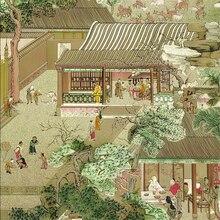Beibehang китайский стиль золотой фольги обои древний Qingming Shanghe река Grand View сад гостиная спальня задний план стены