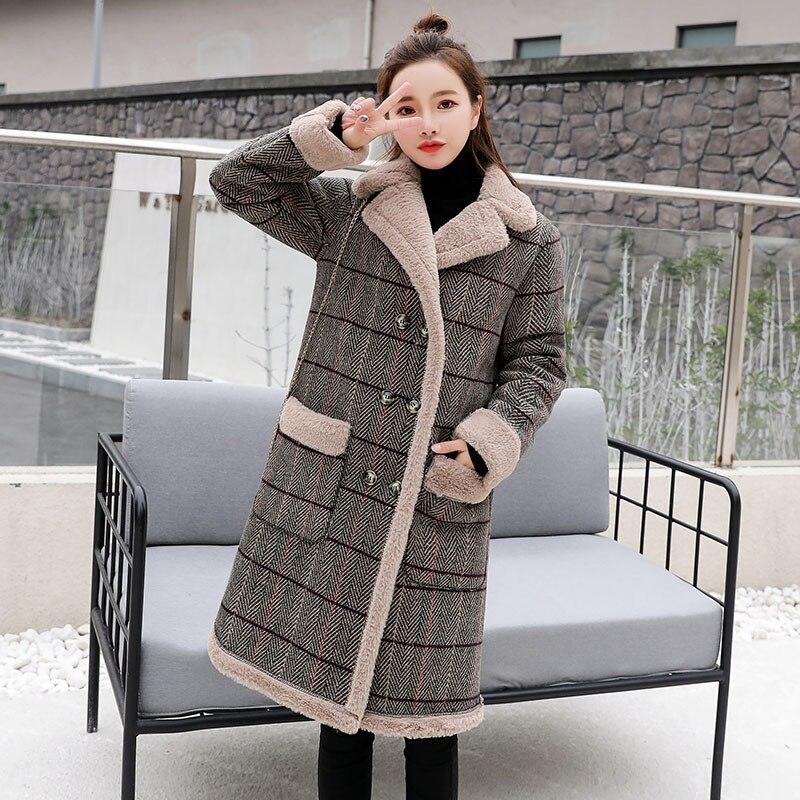 Épais chaud décontracté Épais Coton Femmes Hiver Faux Agneaux manteau de laine 2019 De Mode de Flanelle Femme laine Chaude mélanges Manteaux longs 2XL