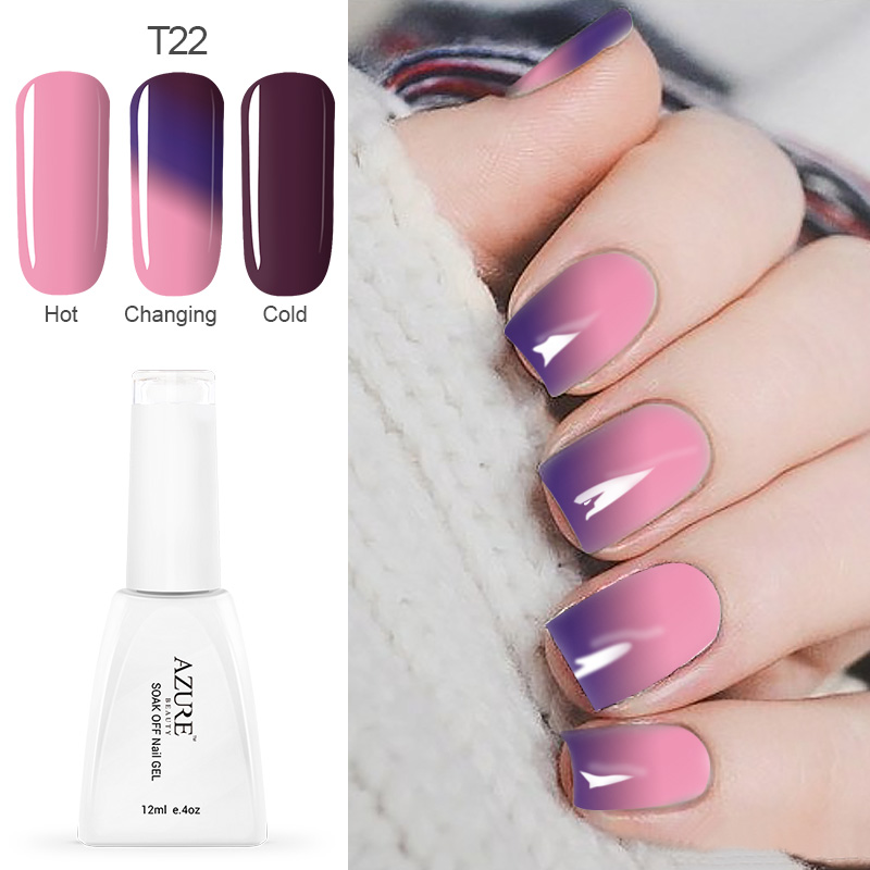 Azure Temperature Color Changing Nail Gel Polish Long Lasting Soak Off Led Uv 12ml Chameleon Gel