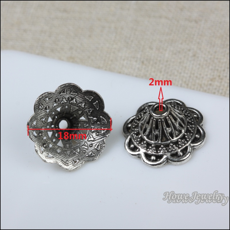 100pcs  Vintage   Flower  End Beads Caps  Charm   Antique Silver  Pendant  DIY European Style Jewelry Making  X207