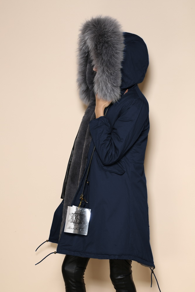 Navy Parka Coat With Fur Hood