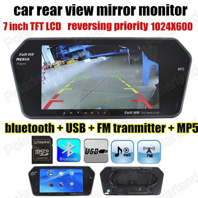 Nueva 7 Pulgadas bluetooth para cámara de visión trasera Del Coche Del LCD monitor del espejo de Rearview del Revés Del Monitor MP5 MP4 para TF/USB FM transimitter