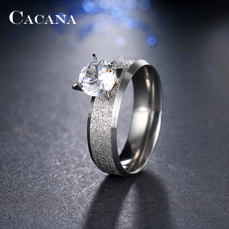 CACANA Stainless Steel Rings For Women Sequin With CZ Fashion Jewelry Wholesale NO.R12