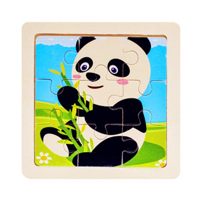 Мини Размер 11*11 см детская игрушка деревянная головоломка деревянная 3D головоломка для детей Детские Мультяшные животные/дорожные Пазлы обучающая игрушка - Цвет: Черный