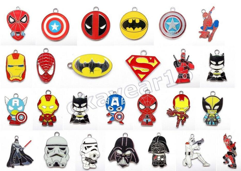 Hot Sale 200 pcs Popular Superhero Charm Pendants DIY Jewelry Making Accessories For Best Gift D