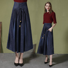 Womens explosion pockets, pleated, bow large size denim skirt Street hipster straps high waist half